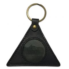 Black Leather Triangle Key Fob